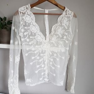 Tops - Romantic Sheer Ivory Lace Long Sleeve Blouse Sz S